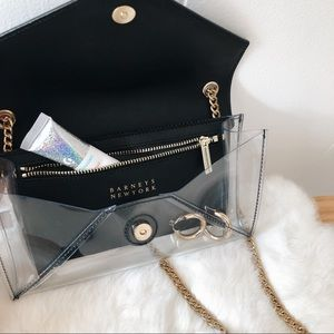 Barneys New York Leather Trimmed PVC Chain Wallet